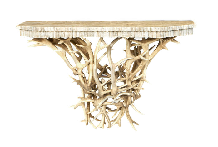 A pair of antler console tables