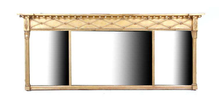 A 19th century carved giltwood and gesso overmantel mirror
