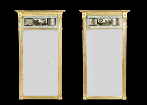 ON HOLD A near pair of 19th century giltwood and verde Eglosime pier Mirrors