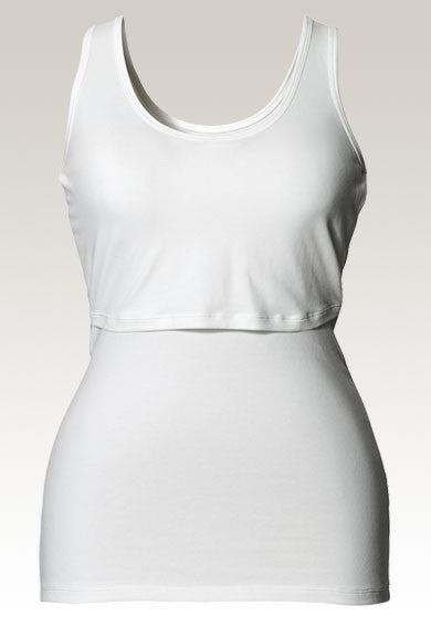 Boob Design Classic Maternity and Nursing Tank Top (White)