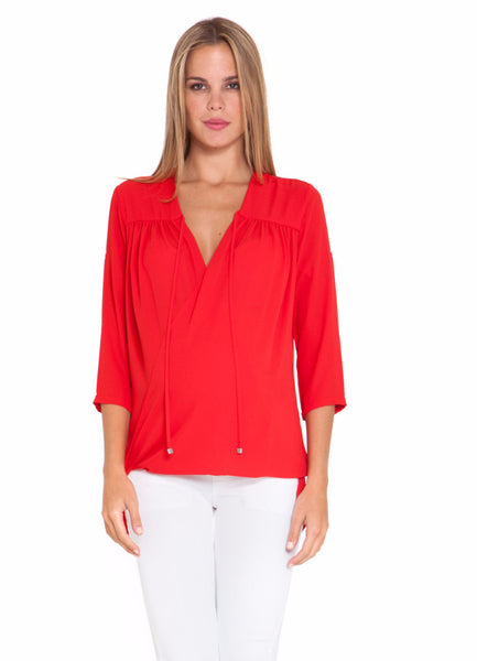 Olian Maternity Eliana 3/4 sleeve V-Neck chiffon wrap nursing top Red