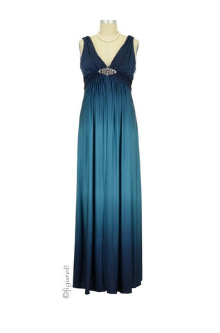 Love My Belly Andrea Ombre Gown (Teal/Navy)