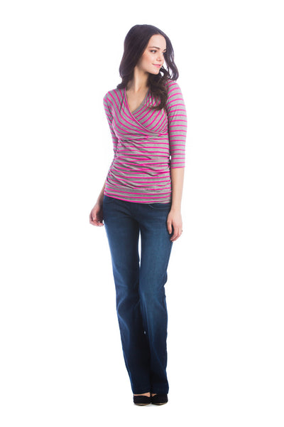 Lilac Clothing Maternity Michelle Top Fuchsia/Grey Stripe