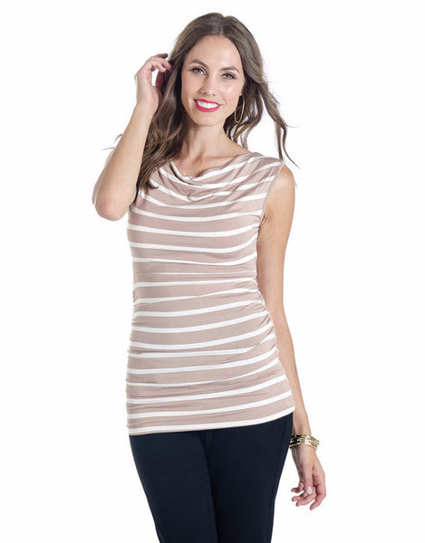 Lilac Clothing Maternity Liz Top Taupe Stripe