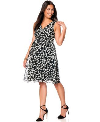Motherhood Maternity Sleeveless Butterfly-Print Dress