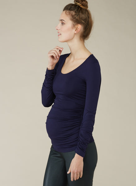 Isabella Oliver The Maternity Scoop Top Darkest Navy