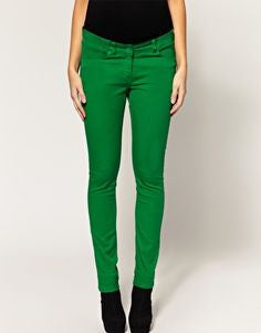ASOS Maternity bright green pocket panel skinny jeans