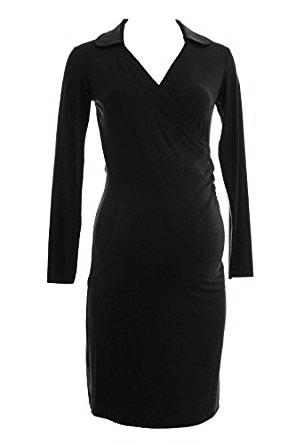 Olian Maternity Black Faux Wrap Long Sleeve Collared Dress