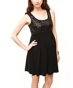 Debbi O. Black Sequin Maternity Empire-Waist Dress