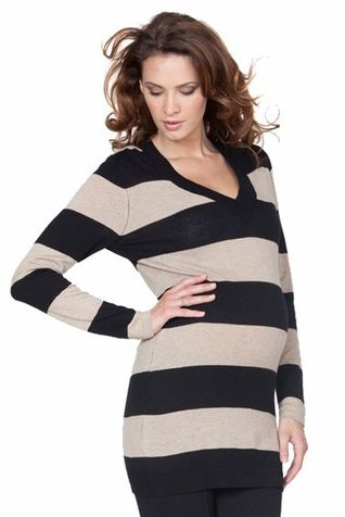 Seraphine Maternity black and camel striped v-neck sweater