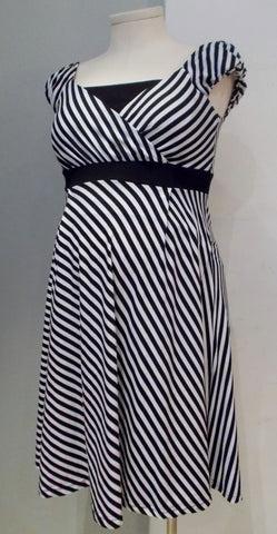 Sweet Mommy black and white striped nursing dress