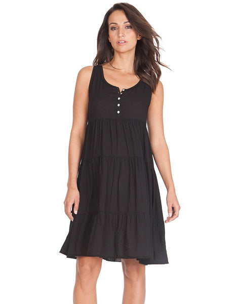 Seraphine Maternity Victoria Black Tiered Sleeveless Nursing Dress