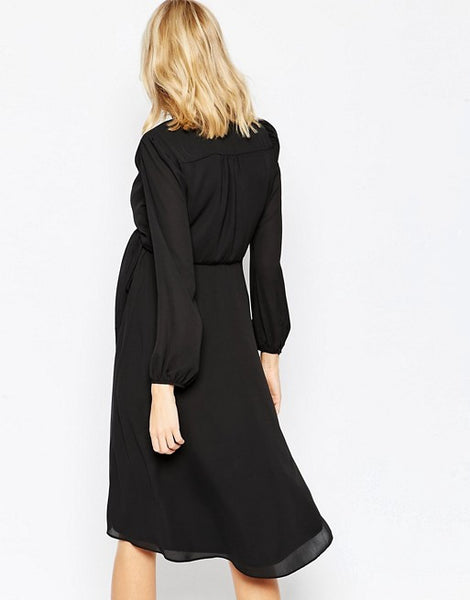 ASOS Maternity Midi Dress With 70's Blouson Sleeves And Wrap Front