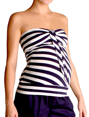 Motherhood Maternity stripe tube top in black/white