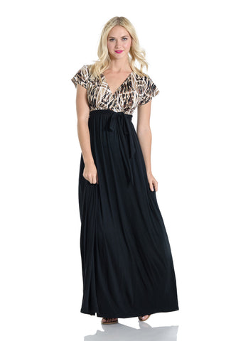 Lilac Clothing Maternity Jill Maxi Dress Black and Tribal Print