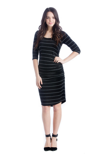 Lilac Clothing Midi BodyCon Dress Charcoal Stripe