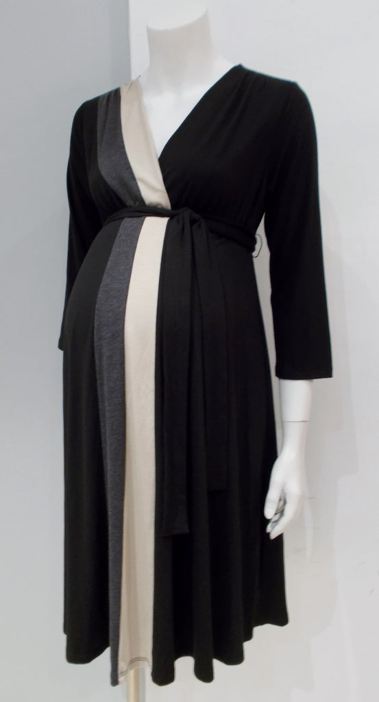 Motherhood Maternity black color block vertical stripe long sleeve v-neck dress