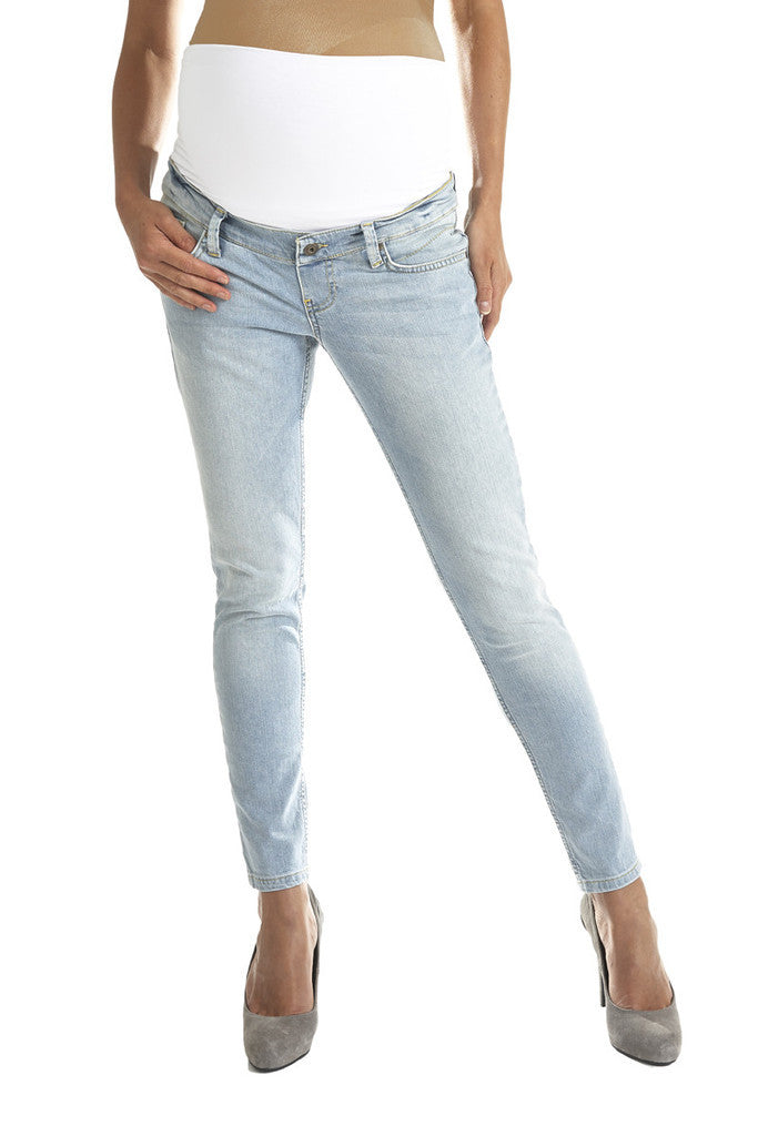 Queen Mum - light wash skinny jeans with black belly panel Size:29