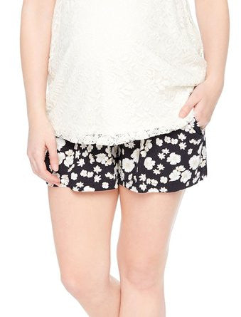 Motherhood Maternity Secret Fit A-line Shorts Black/White Floral
