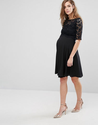 Queen Bee Maternity Black Lace Overlay Midi Swing Dress