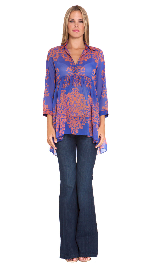 Olian Maternity Angela Blue and Orange Arabesque Print Chiffon Tunic