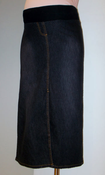 Thyme Maternity black jean midi skirt