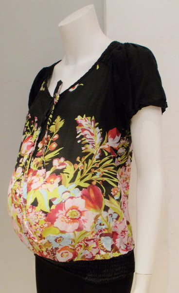 Olian Maternity black and floral print short sleeve top