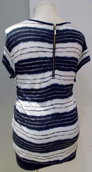 Thyme Maternity blue and white striped zipper back short sleeve top