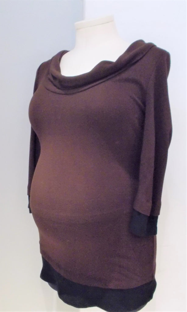 Thyme Maternity brown and black trim 3/4 sleeve cowl neck top