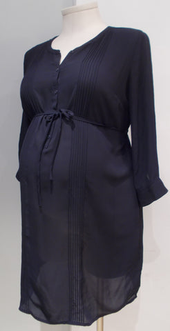 H&M Mama navy chiffon pleated tunic dress