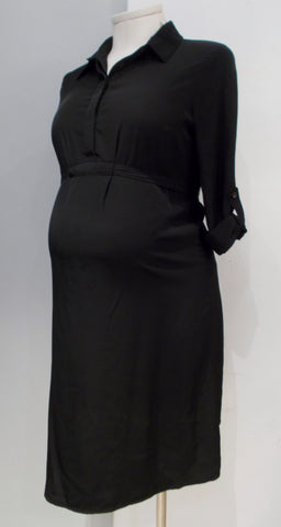 Gap Maternity Black Silk Shirt Dress