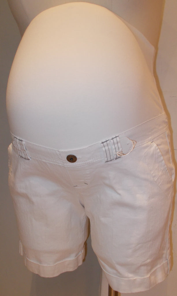 Thyme Maternity white full belly panel jean shorts