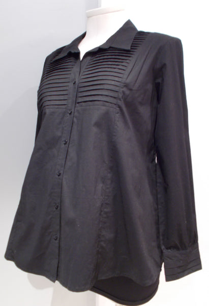 Tomorrows Mother Maternity Black Collared Blouse with Pleat front detail