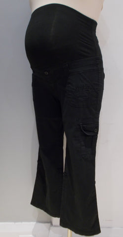Thyme Maternity black full belly panel cargo pants
