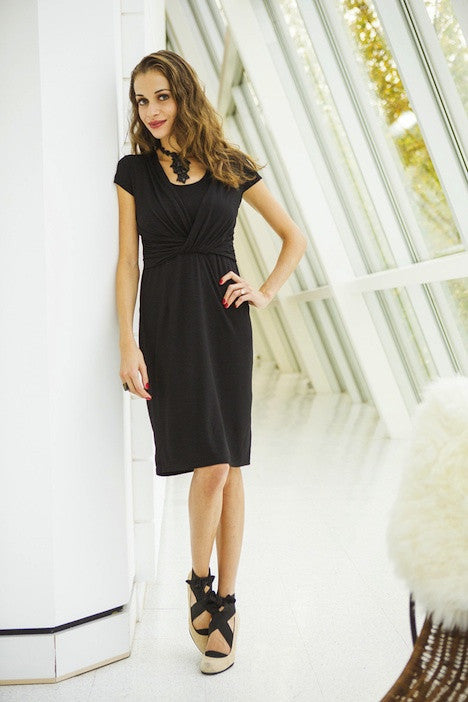 Milk Nursingwear cocktail nursing dress black