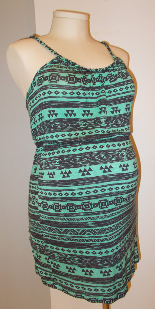 PINK BLUSH - TEAL AND BROWN TRIBAL PRINT TANK W/ BRAIDED STRAPS
