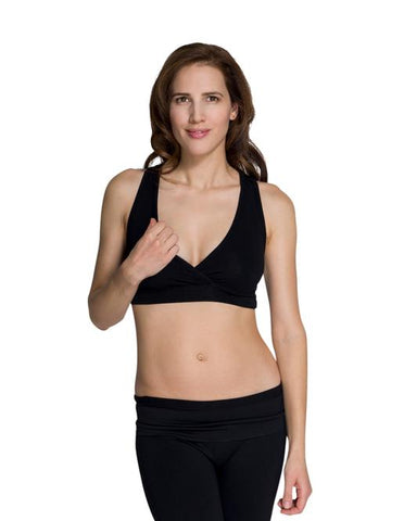 Momzelle Sleep Nursing Bra - Black, White
