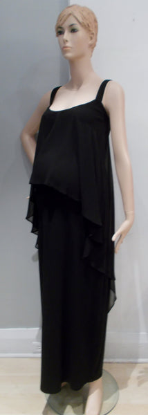 Queen Mum Maternity Black Maxi Dress with Chiffon Overlay