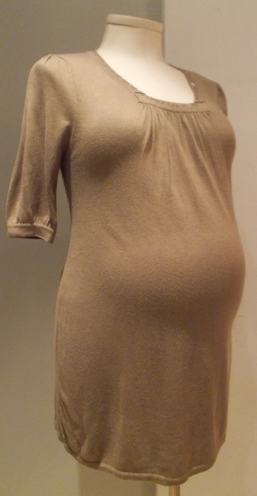 O.C.T mami Maternity brown 3/4 sleeve sweater with beaded neckline details