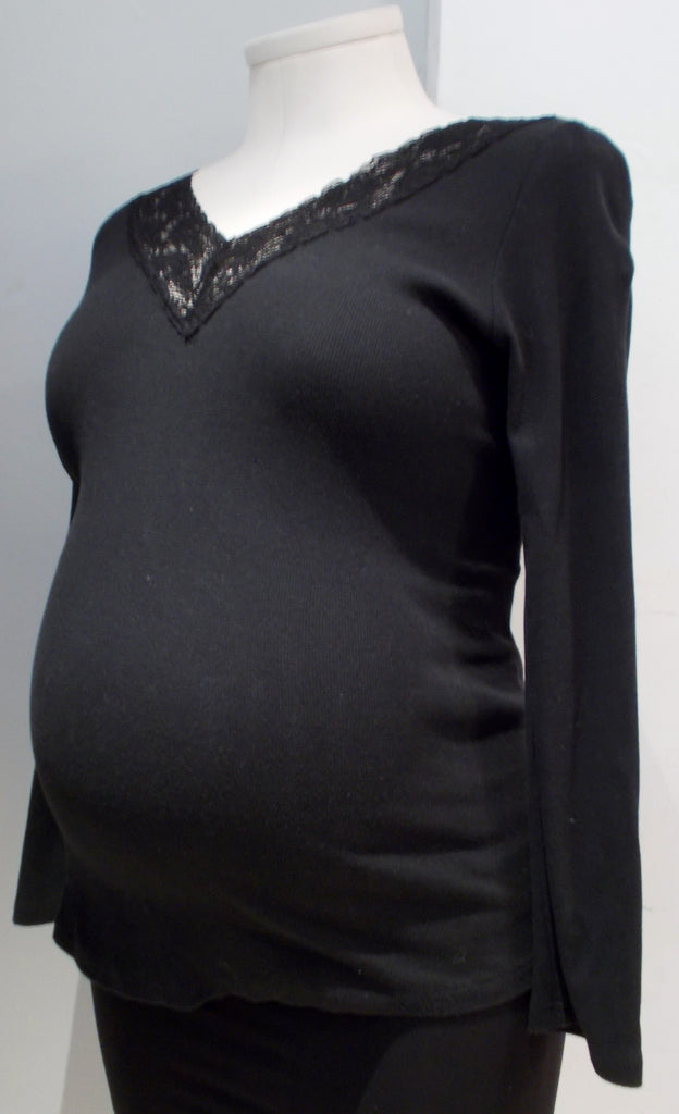 George Maternity Black Lace Detail Neckline Top