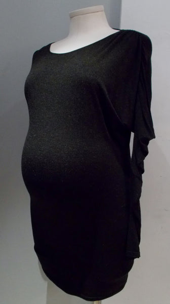 9 Fashion Maternity Dark grey drop shoulder side ruched dress/tunic