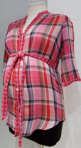 Rhonda Maternity red plaid button down top