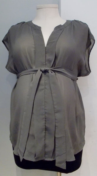 Motherhood Maternity grey short sleeve blouse with tie