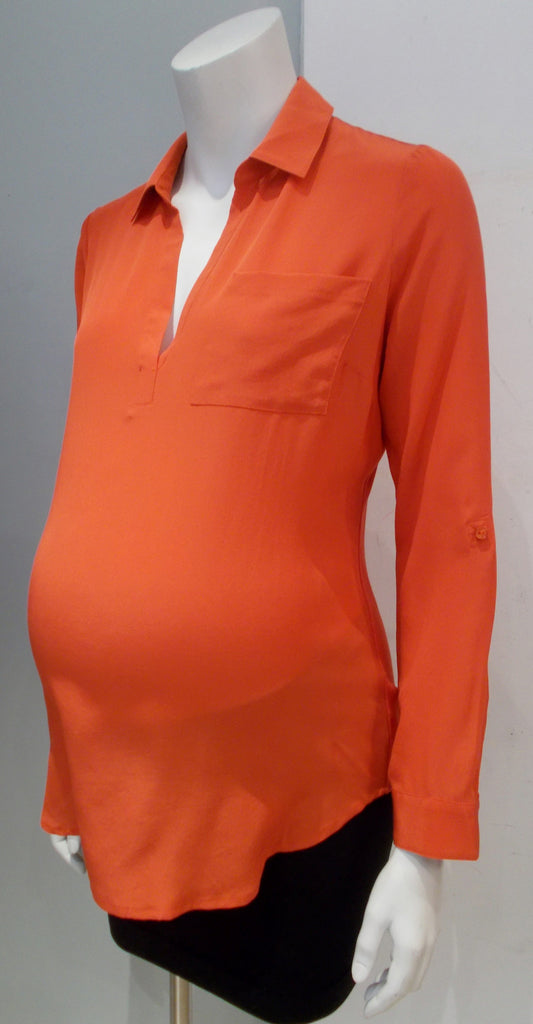A Pea in the Pod Convertible Sleeve Patch Pocket Maternity Blouse