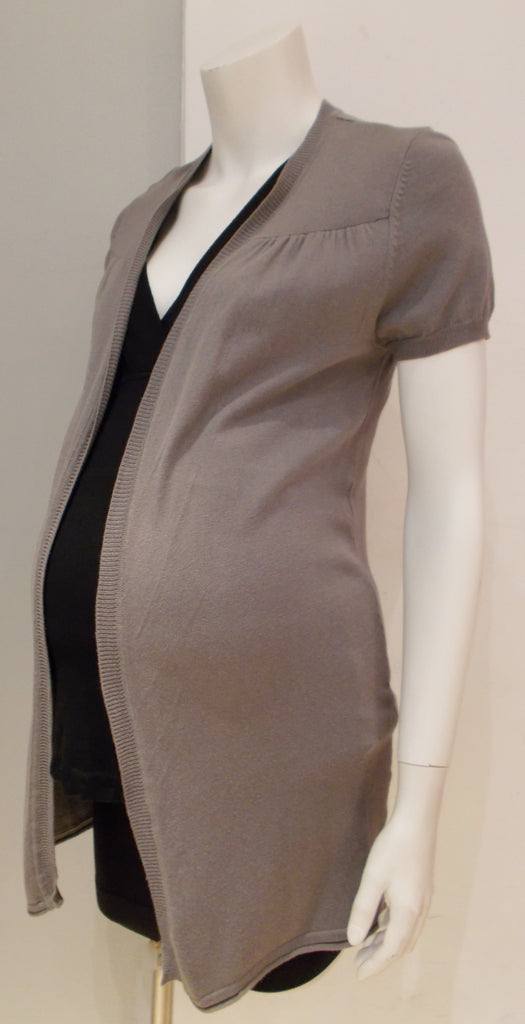 Thyme Maternity grey short sleeve open front knit cardigan