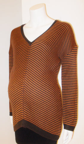 Thyme Maternity brown chevron stripe sweater