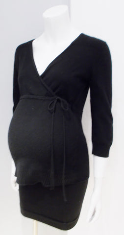 Motherhood Maternity black faux wrap top