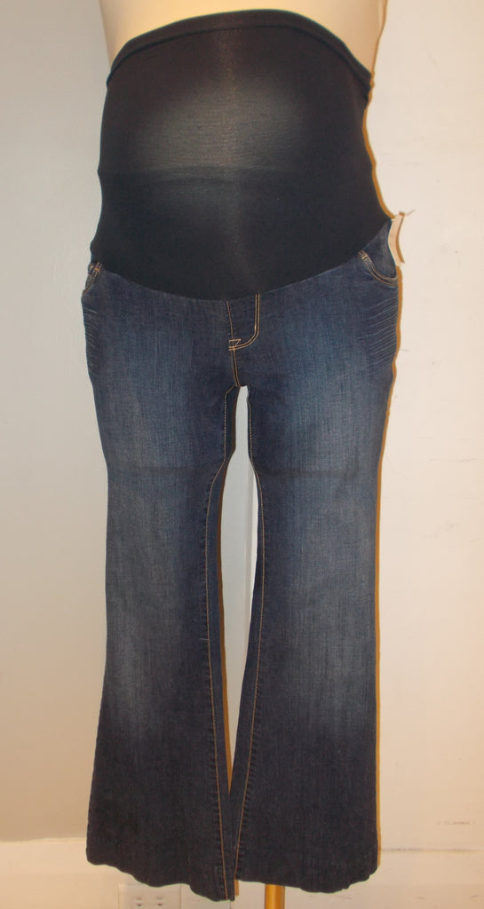 Indigo Blue Maternity dark wash full belly panel flare jeans