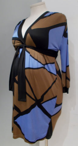 Olian Maternity black brown and blue print belted v-neck long sleeve dress