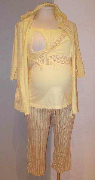 Thyme Maternity yellow stripe print 3pc nursing pj set